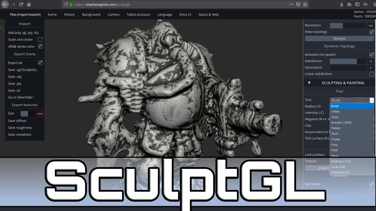 SculptGL -- Amazing Free Open Source WebGL Sculpting App