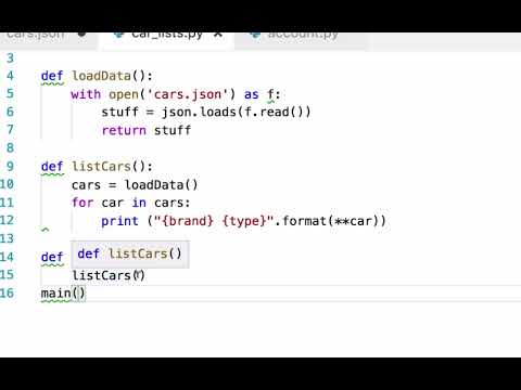 python loading and listing from json list of dicts