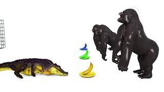 Учим цвета с животными машинки . Красный грузовик , горилла, крокодил. Развивающий мультик для детей