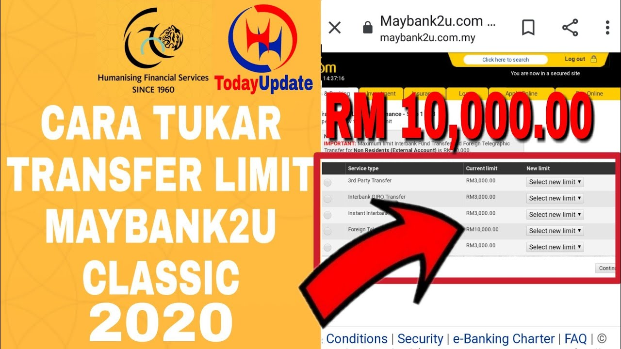 Cara Tukar Transfer Limit Maybank2u Tukar Limit Rm 10 000 Full Tutorial Malayu 2020 Tofay Update Youtube