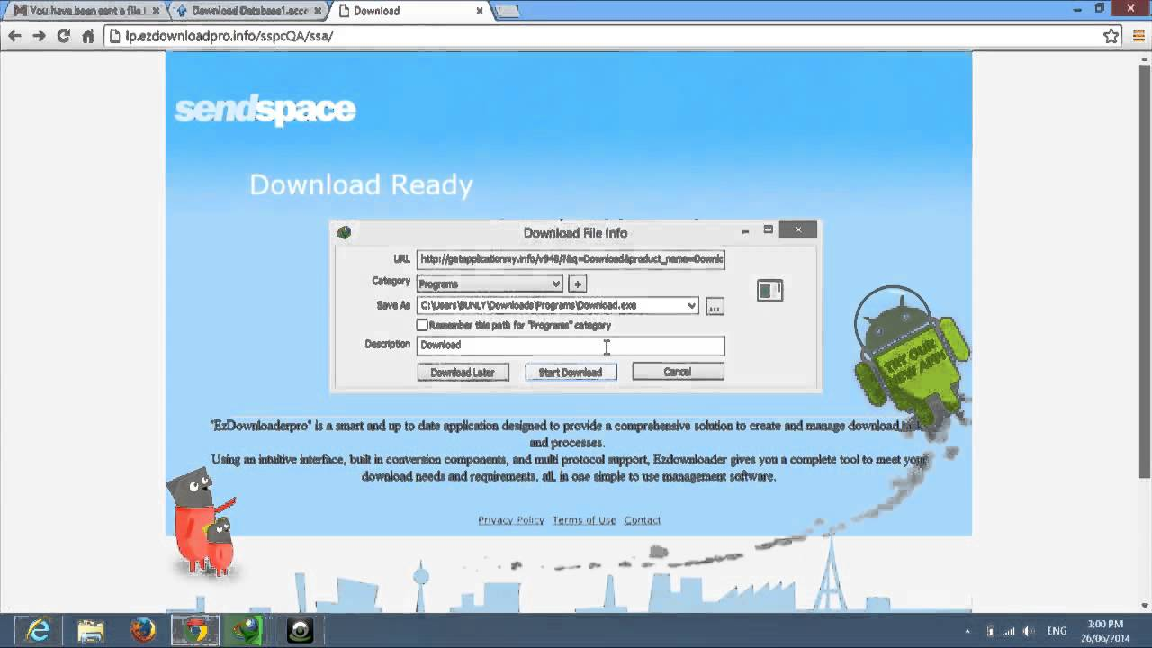 How To Download File Or Videos For E-mail From Sendspace