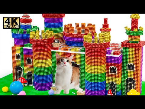 DIY - How To Build Mega Castle Cat House From Magnetic Balls (Satisfying ASMR)   Magnet World Series  