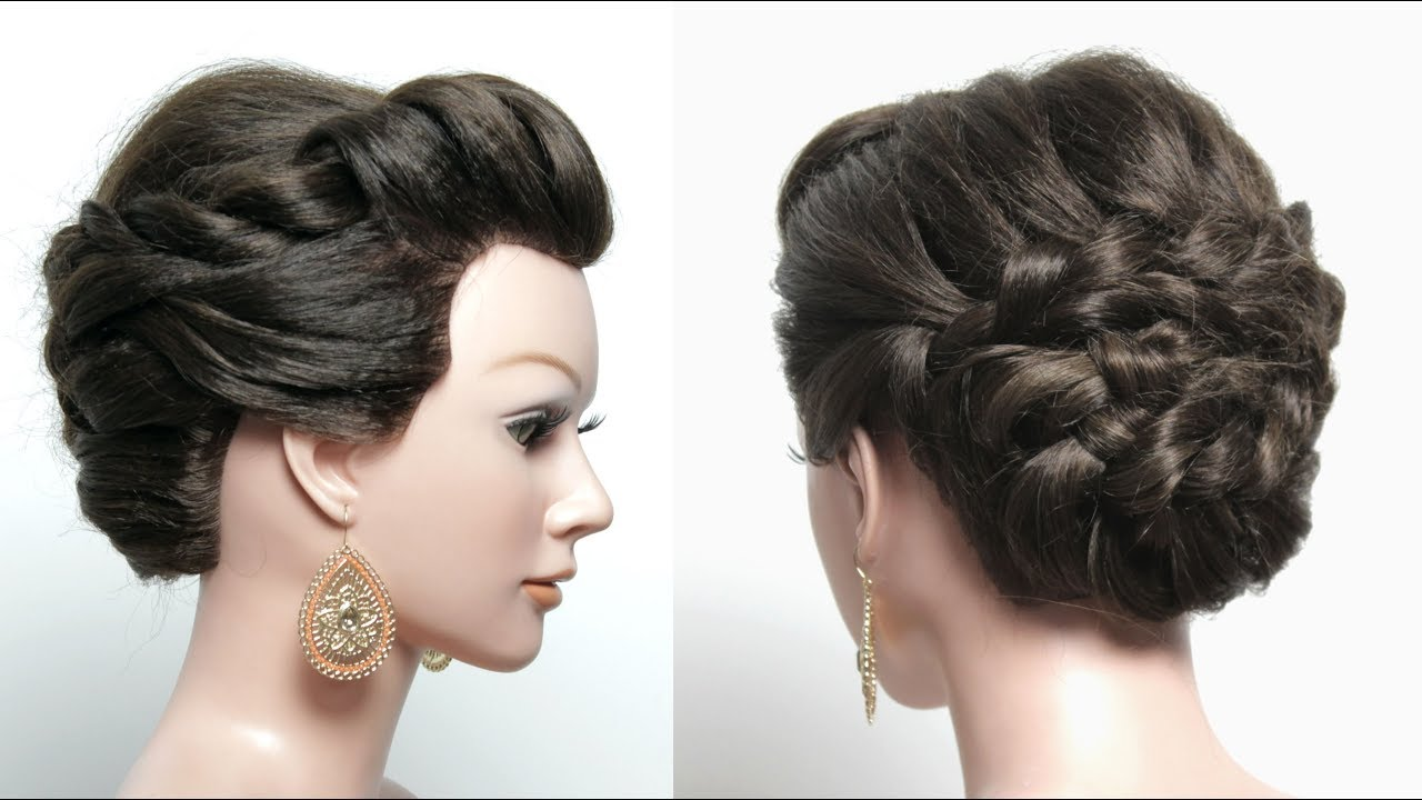 braided bridal hairstyle for long hair tutorial. updo with braid