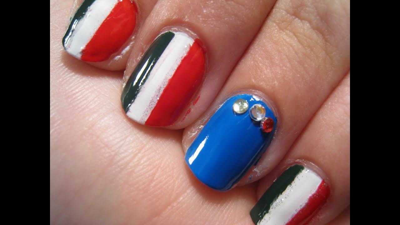 Nail Art TUTORIAL 66 • Italian flag - YouTube
