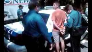 FREE SPEECH IS NOT ALLOWED! Aug. 9, 2010 John Bush arrested exercising 1st Amendment
