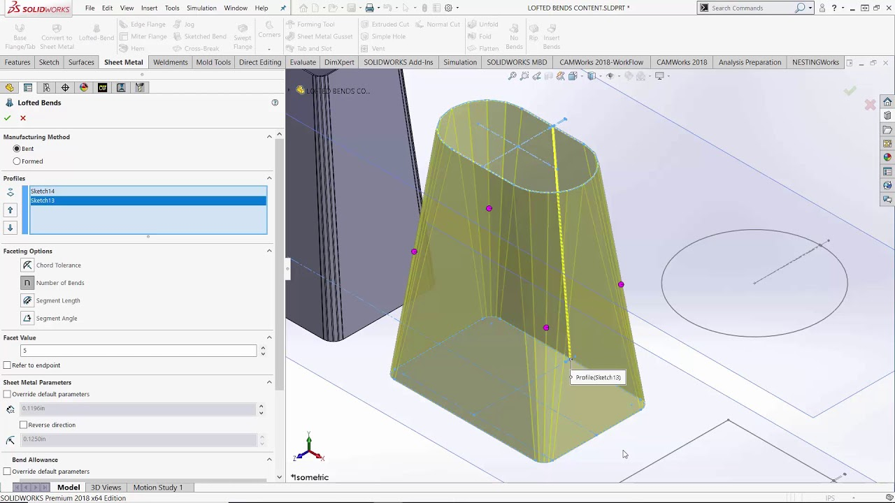 Solidworks Lofted Bend Feature Youtube