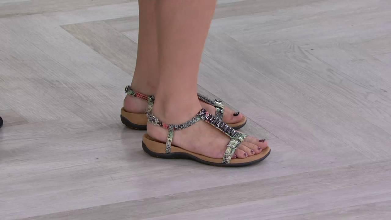 d9348cd05c0 Vionic Orthotic Embellished T-strap Sandals - Navassa on QVC - YouTube