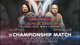 WWE Super Show Down 2018 AJ Styles Vs Samoa Joe Official Match Card