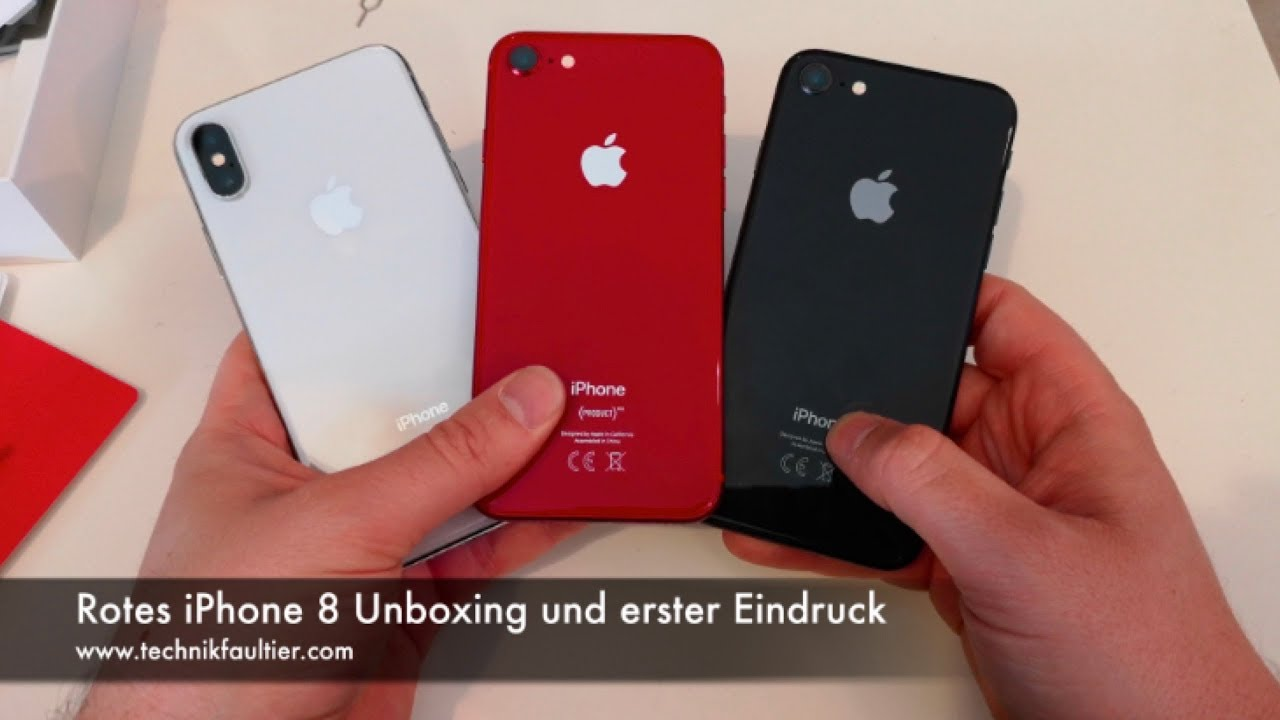 rotes iphone 8 unboxing und erster eindruck youtube. Black Bedroom Furniture Sets. Home Design Ideas