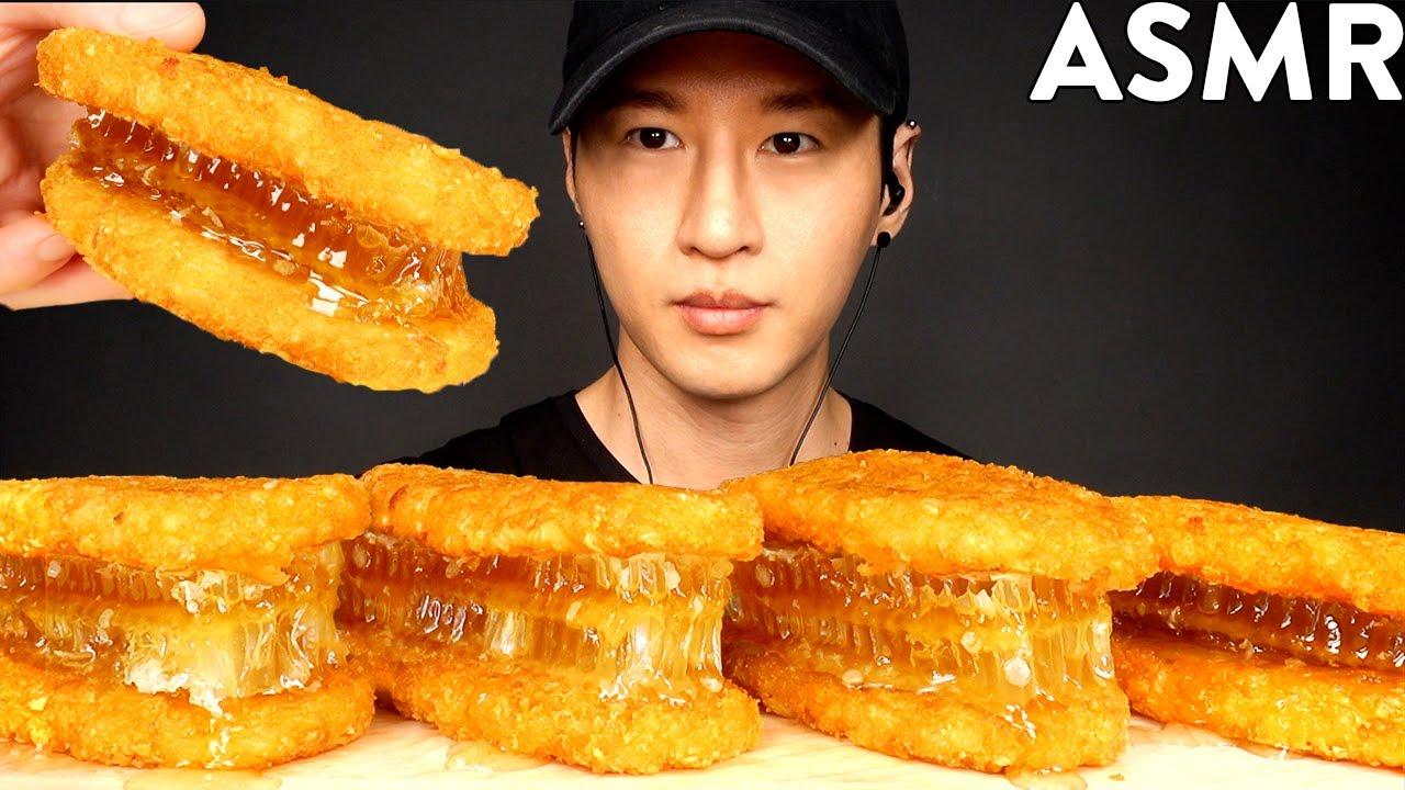 ASMR HASH BROWN HONEYCOMB SANDWICH MUKBANG (No Talking) EATING SOUNDS | Zach Choi ASMR