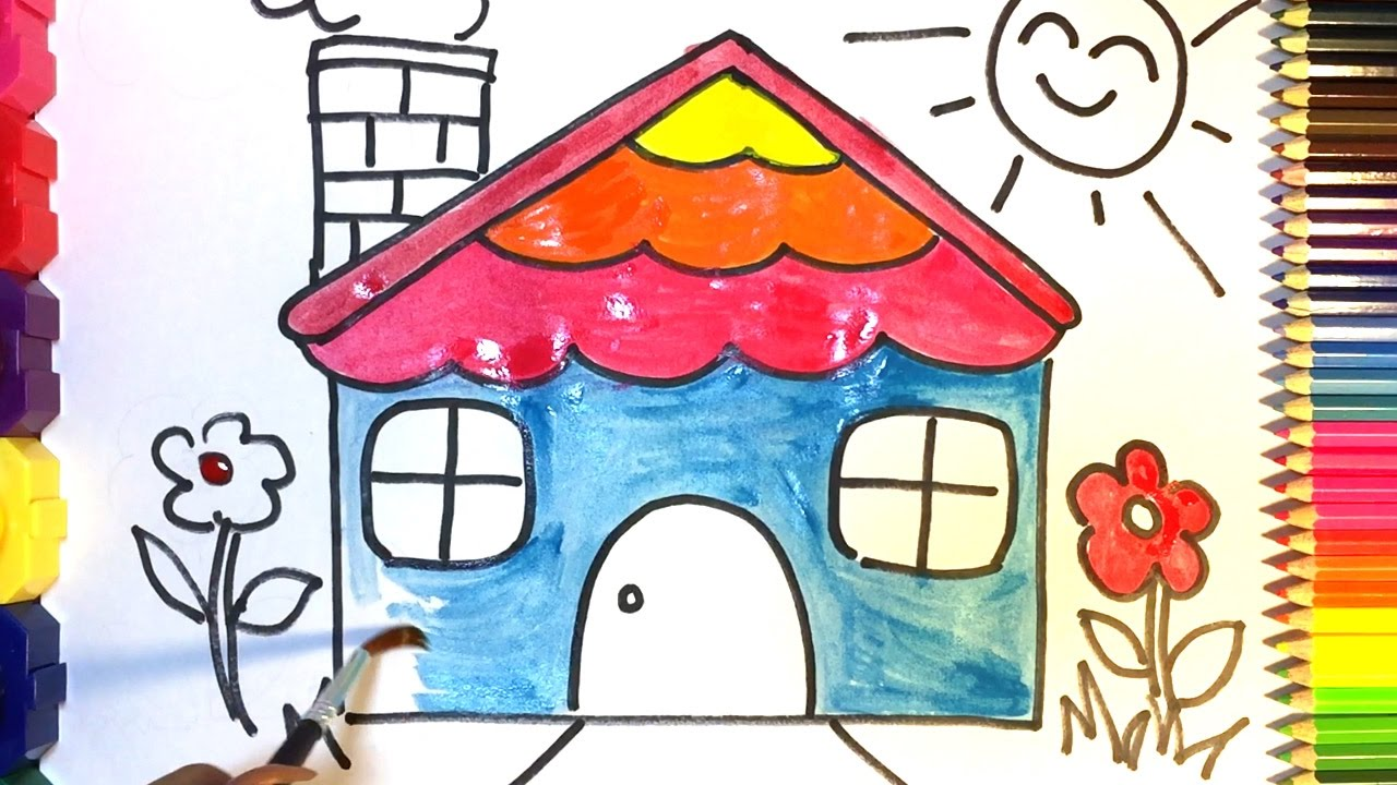 how to draw and colour a house for kids drawing and colouring for kids and children - Drawing For Children To Colour