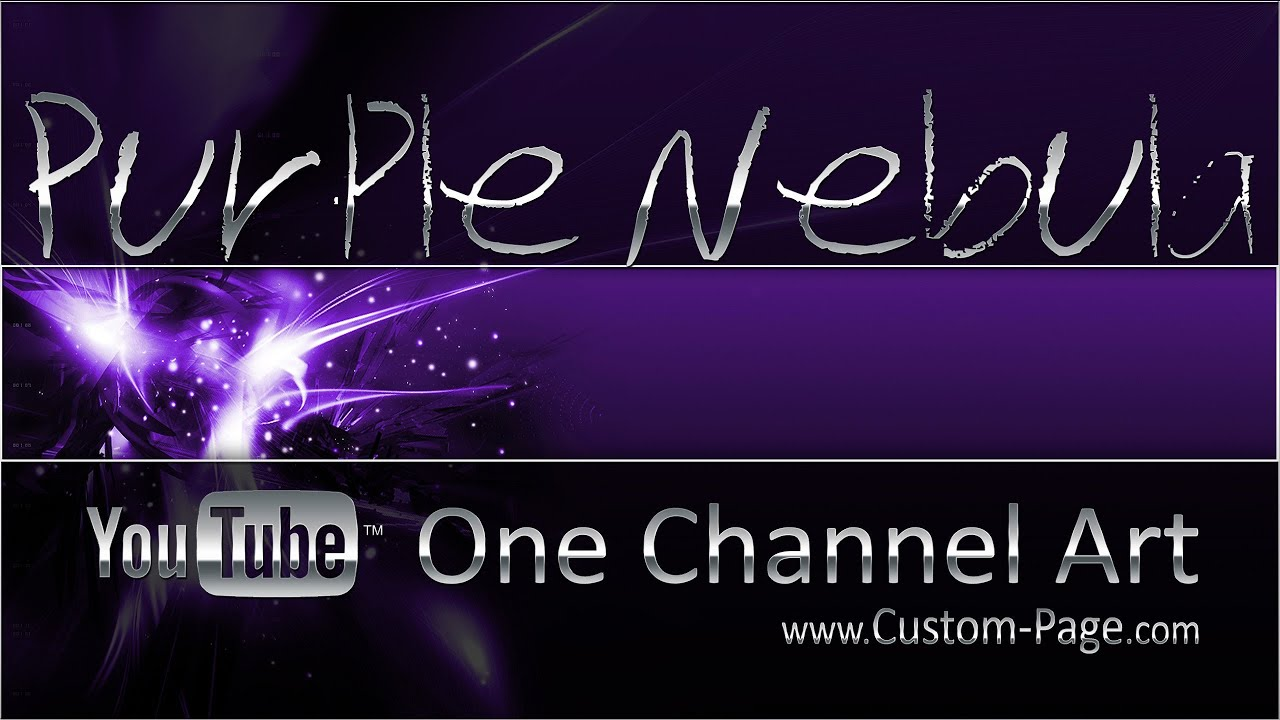 Purple nebula youtube channel art template photoshop psd youtube pronofoot35fo Images