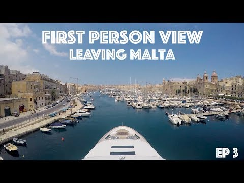 Yacht Crew Leaving a Port - First Person View