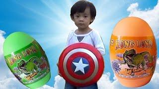 hunting dinosaur surprise eggs  san va boc trung khung long do choi  anan toysreview tv