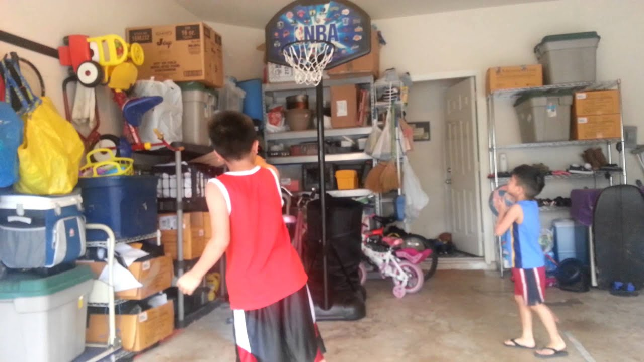 Garage basketball goal from daddy youtube for Basketball hoop inside garage
