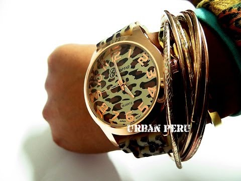 Relojes para mujer moda animal print marca geneva - Reloj de pared adhesivo ...