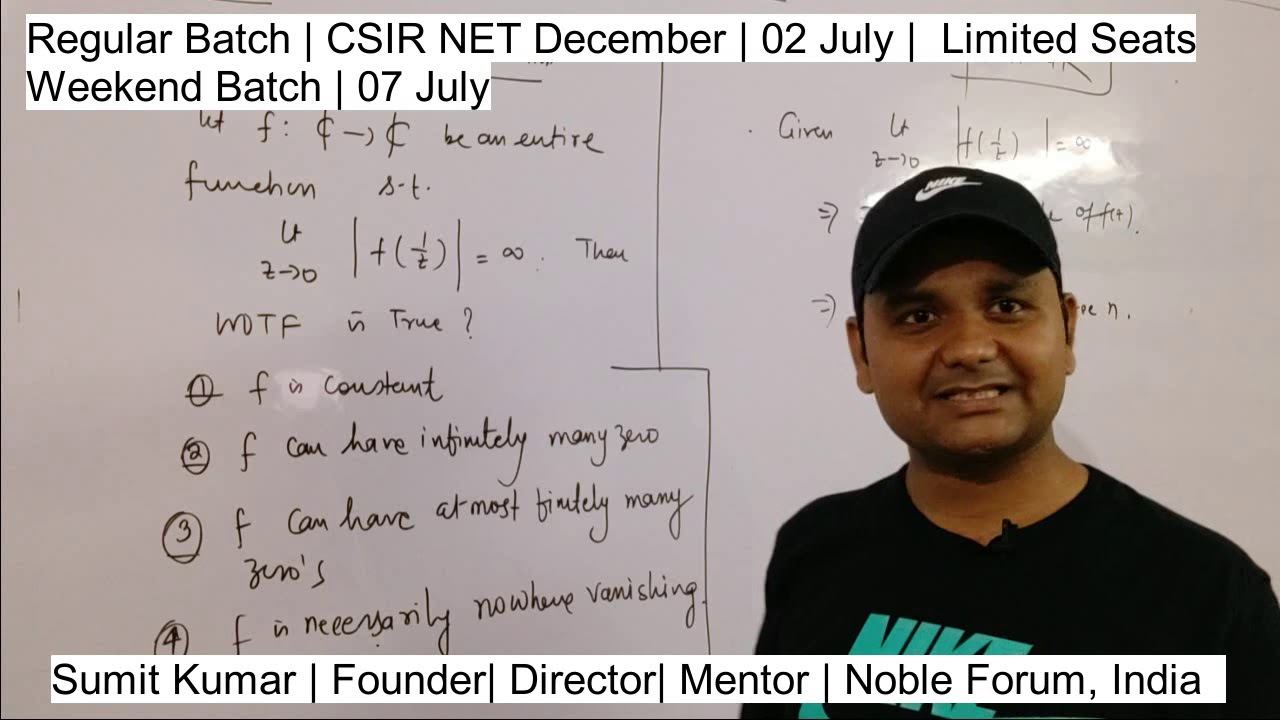 Solution| CSIR NET JUNE 2019 | Singularity of Entire Function | Complex  Analysis | Sumit Sir | Noble