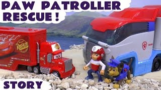 paw patrol paw patroller cars and minions rescue story mack   juguetes de patrulla canina kids toys