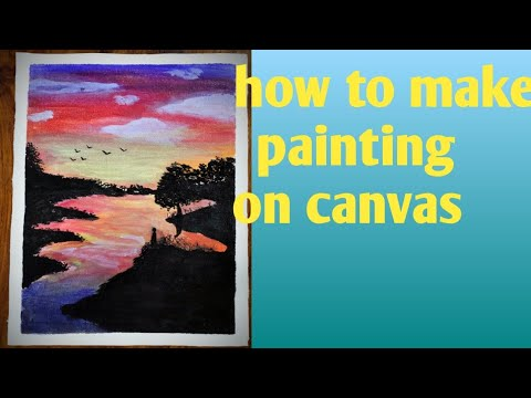 landscape painting of evening time। Canvas painting 🖌️🎨😲
