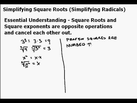 Simplifying Square Roots Part 1