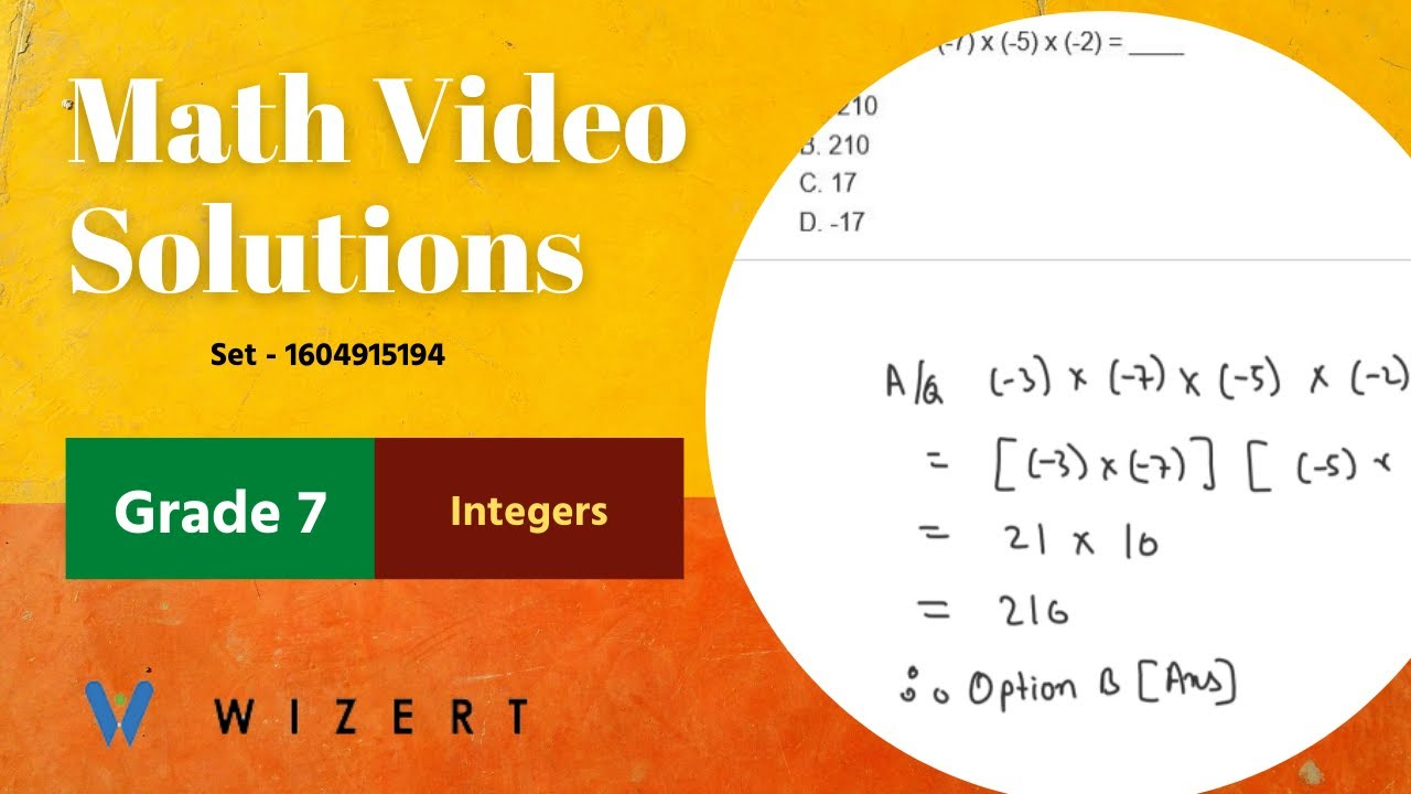 small resolution of Maths Tests for Grade 7 - Grade 7 Integers - Integers worksheets - Set  1604915194 - YouTube