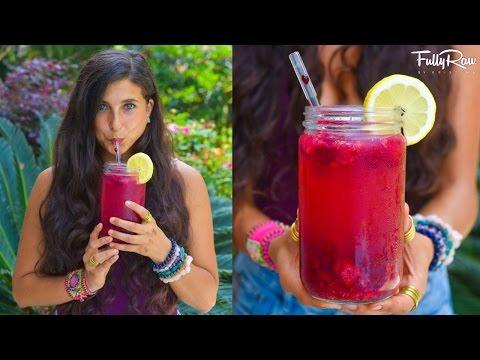 Raspberry Coconut Lemonade! FullyRaw Vegan!