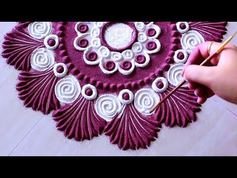 Beautiful holi special rangoli design l kolam muggulu l कैसे रंगोली डिजाइन बनाने के लिए thumbnail