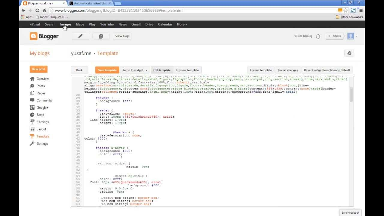 Indent Blogger Template HTML, CSS and JavaScript - YouTube