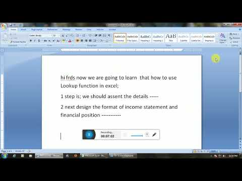 Create the Income statement and financial position by using Lookup