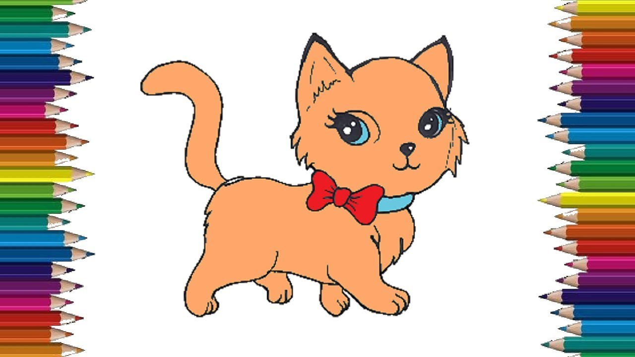 How to draw a cute cat step by step - Cat cartoon drawing ...