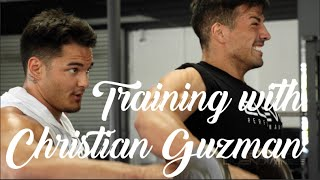 Christian Guzman does his first FST-7 shoulder workout / Posing with Jeremy Buendia