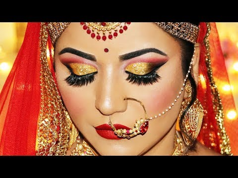 Indian Bridal Makeup Tutorial | Dramatic Gold Glitter Cut Crease and Rich Red Lipstick