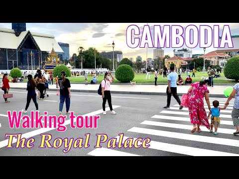 Walking tour in front of the Royal place | Phnom Penh city of Cambodia [23,May,2021]