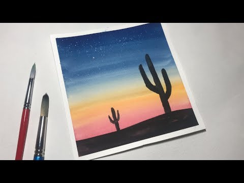 Watercolor Painting Tutorial For Beginners Easy Sunset
