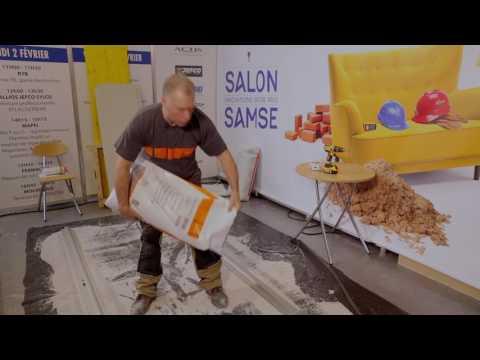 Pose plaques de sol fibre de bois Fermacell - Démonstration Salon SAMSE 2017