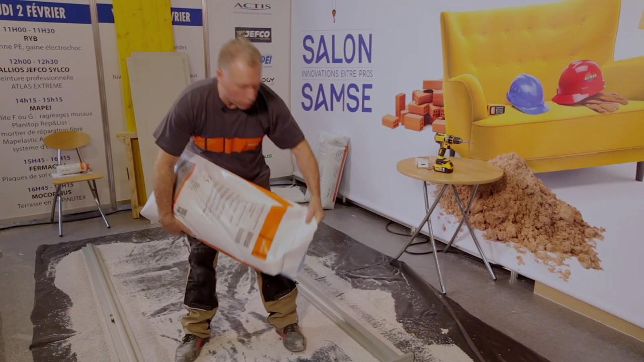 Pose plaques de sol fibre de bois fermacell for Salon samse