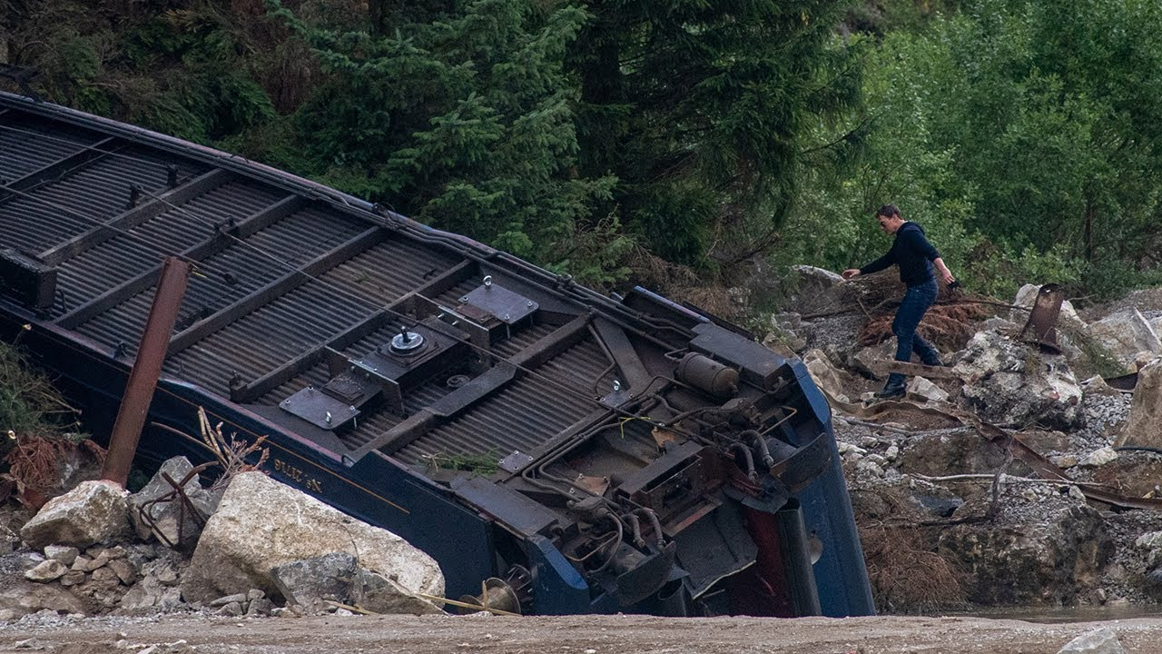 Mission Impossible 7 Filming Train Stunt At A Quarry In Derbyshire.