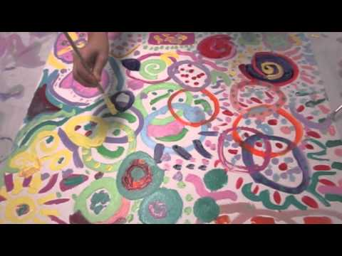 Third and Fourth grade collaborative circle paintings
