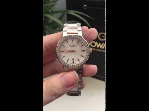 Rotary LB02844-41 Ladies White Mop Dial Two Tone Bracelet Watch