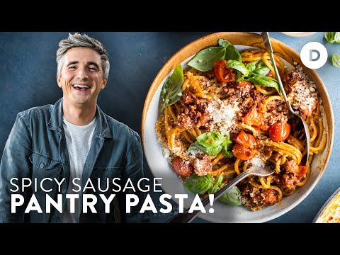 SPICY Sausage Pantry Pasta in 15 minutes!
