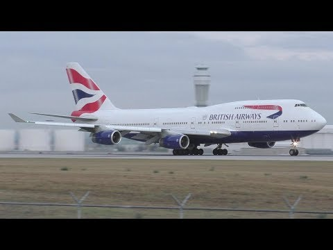 British Airways 747-436 [G-CIVS] Dawn Taxi and Takeoff from Calgary Airport ᴴᴰ