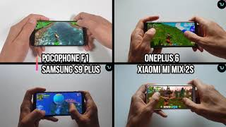 Fortnite Gaming Comparison Pocophone F1 vs OnePlus 6 vs Samsung S9 Plus vs Xiaomi Mi Mix 2s