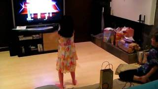 """Hasti plays """"Just Dance"""" for Wii at Madelyn"""
