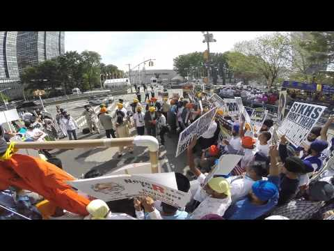 Sikhs for justice group protest outside UN during modi's speech (09/25/2015)