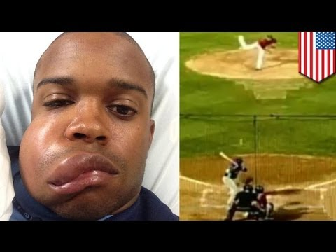 Houston Astros prospect Delino DeShields Jr. catches a 90 mph fastball with his face