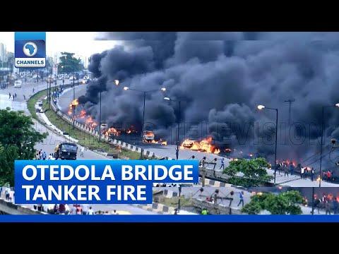 Lagos Fire: Fuel Laden Tanker Explodes On Otedola Bridge