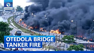 Lagos Fire: Fuel Laden Tanker Explodes On Otedola Bridge