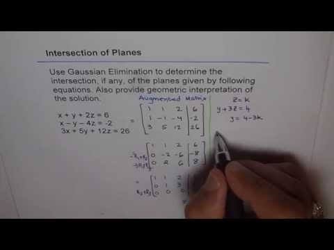 Intersection of Three Planes Gaussian Elimination Method