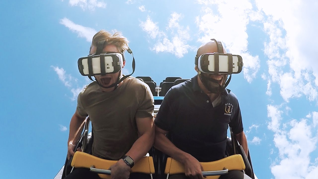 Riding the superman virtual reality roller coaster at six flags