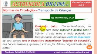 22 NORMAS DE CIRCULAÇÃO - Motocicletas, Transporte de Crianças, Classificação Vias